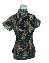 Black Traditional Chinese Women Silk Satin Blouse Summer Short Sleeve Shirt Tops Handmade Button Clothing S M L XL XXL WS006