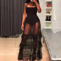 Black Sexy See Through Sheer Mesh Maxi Dress Women Sleeveless Spaghetti Strap Long Ruffle Dresses Party Club Wear