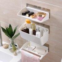 3PCS Bathroom Shelf Toilet Paper Holder Sucker Storage Rack for Toothbrush Towel Bathroom Accessories Kitchen Supplies