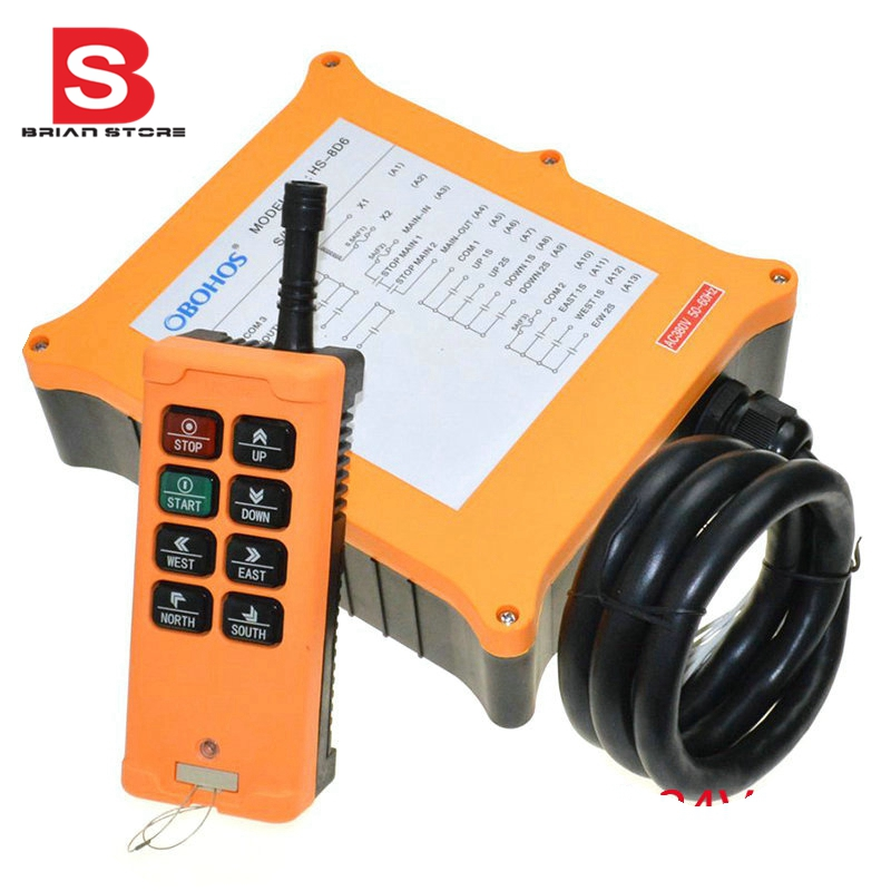 110VAC 2 Speed 1 Transmitters 8 Channels  Truck Hoist Crane Winch Radio Remote Control System Controller new 2 transmitters