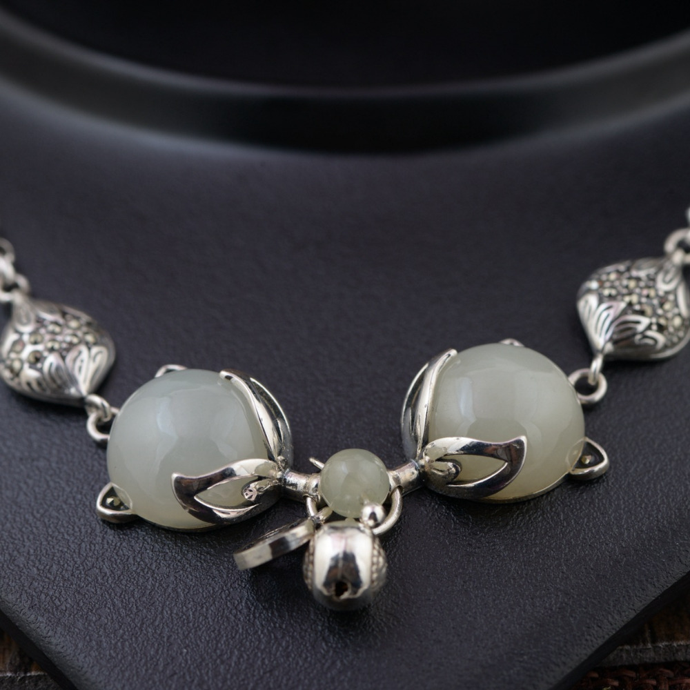 BALMORA Genuine 925 Sterling Silver Jewelry Fox Bracelets For Women Gift Chalcedony Animal Bracelet About 17+5.5cm TRS40203