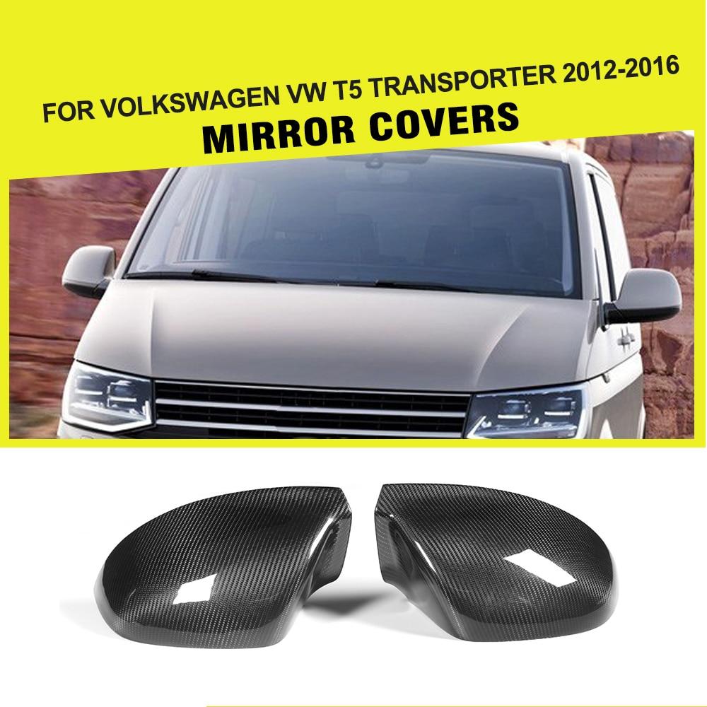 Carbon Fiber Car Rear Review Mirror Cover Caps for For Volkswagen VW T5 Transporter 2012-2016