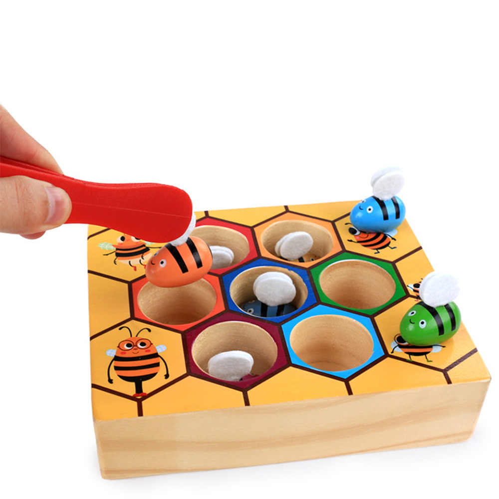 Blocks Toys beehive game Hive Board wooden 7 bees +clamp Early Childhood Education Building Early Balance Training baby fun toy