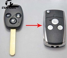 Blanks Modified Flip Remote Key Shell 3 Buttons  for Honda CRV Fit Accord Pilot Civic FOB Key Case Blanks dandkey 50x new replacement remote key case shell fob 2 buttons for honda accord crv pilot civic without blade key cover shell