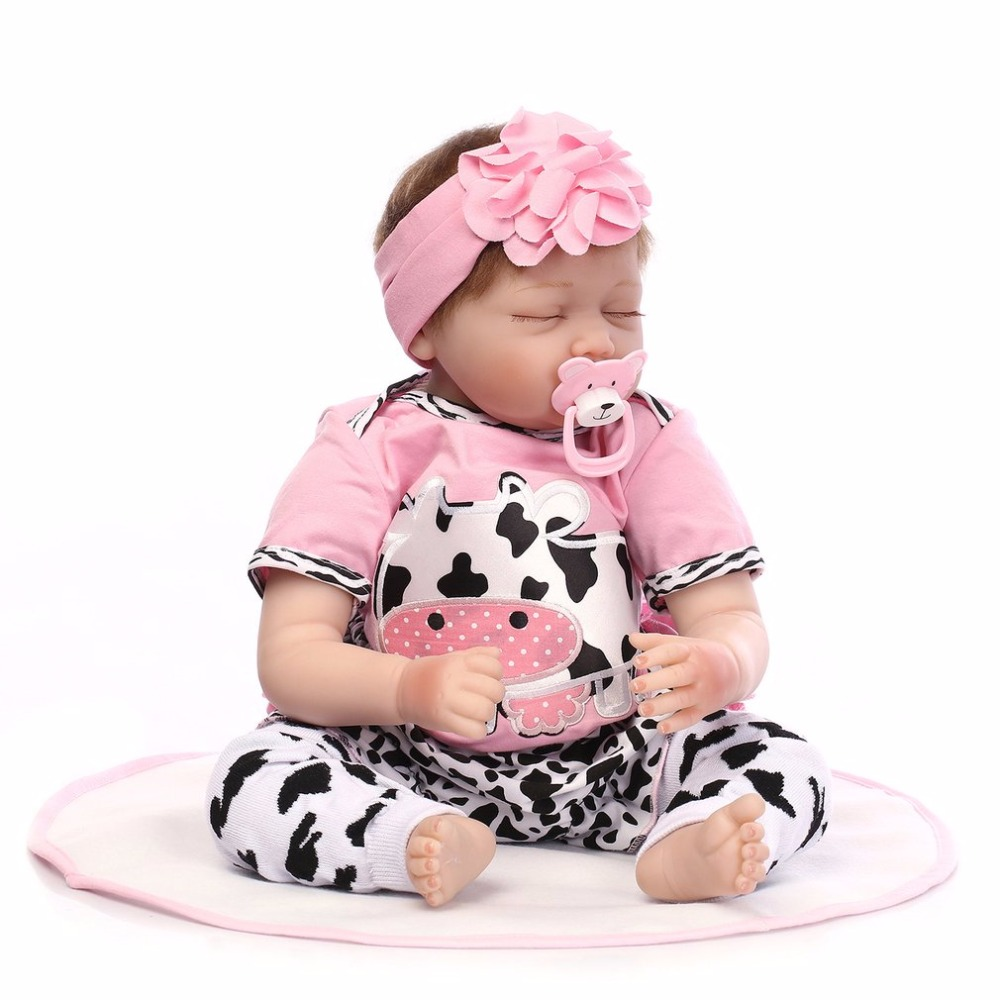 Cute 55CM Sleeping Doll Reborn Baby Pink and Cow clothes Silicone Girl Lifelike Newborn Doll Best Gift For Children Girls Hot ins hot swan soft toy cute ballerina moon cushion pink home sofa decoration pillow baby appease music doll kidstoy gift for girl