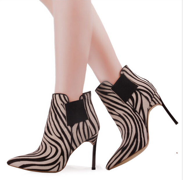 Women ankel boots attractive elegant zebra and sexy Leopard concise design European style pointed toe high-heeled short boots