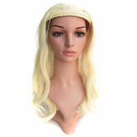 QQXCAIW Women Natrual Long Curly Half Wig Black Brown Blonde 18 Colors 55 Cm Synthetic Hair
