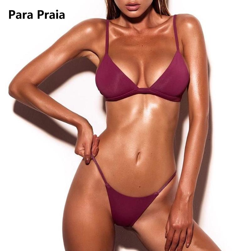 HTB1IQdTtkKWBuNjy1zjq6AOypXaT 9 Colors Solid Bikini Set 2019 Sexy Push Up Swimwear Women Brazilian Swimsuit Low Waist Biquini Halter Two Pieces Bathing Suit