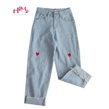 Женские джинсы с широкими штанинами Harajuku, летние мягкие джинсы с высокой талией и вышивкой сердечек в японском стиле «любовь», Kawaii