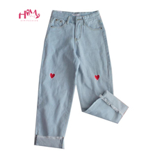 原宿デニムワイド脚パンツ日本 Kpop かわいいハート刺繍ハイウエストソフト姉妹夏ファムかわいい愛のジーンズズボン