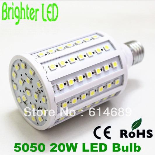 Free Shipping 20W Corn Bulb E27 5050 102SMD LED Light  220V White/Warm White