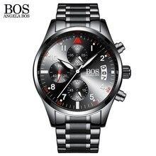 ANGELA BOS Fashion Men Military Luminous Watch Mens Sport Quartz Wristwatch Shock Resistant Steel Strap Male Clock Brand Watches