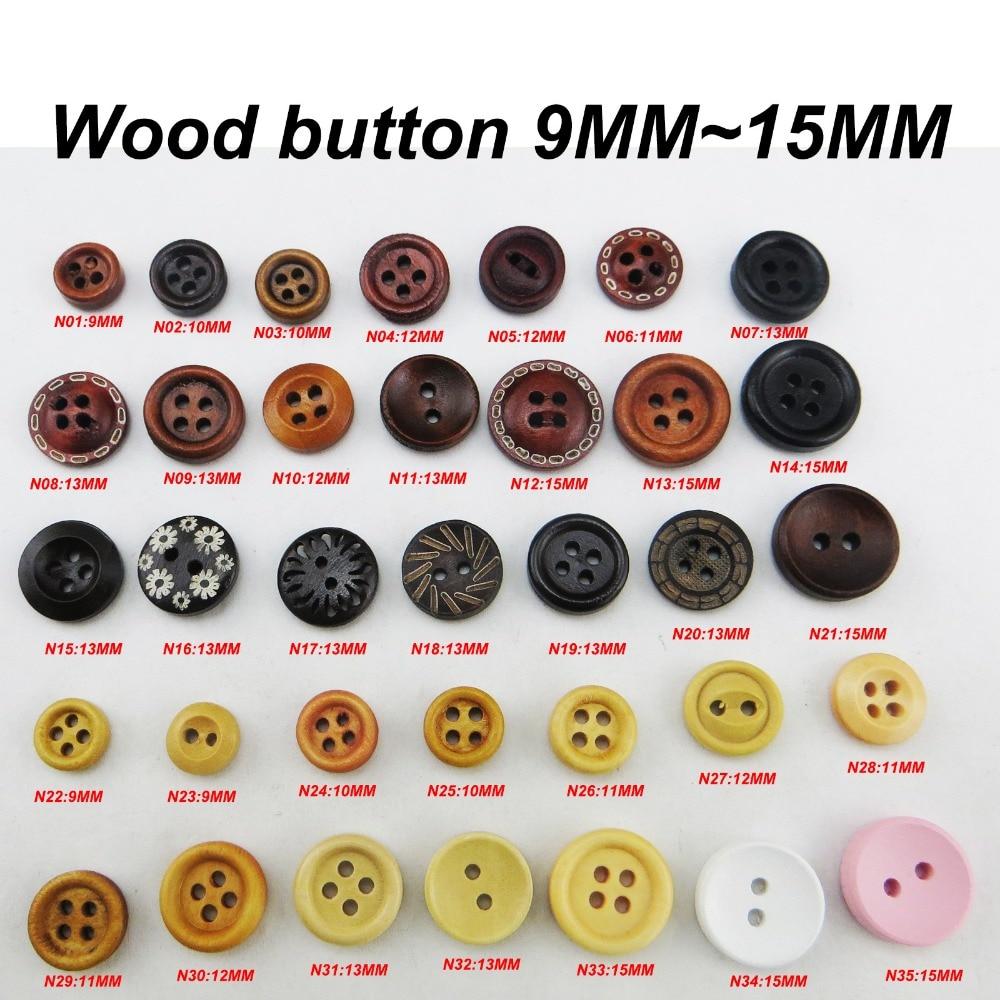 30pcs 2 trous Mixte Souriant Bois Rond Boutons Decor Couture Scrapbooking 25 mm