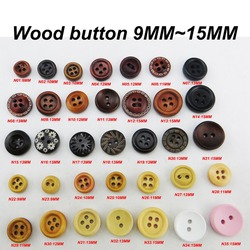 100PCS COFFEE  Painting Wooden Buttons 10MM Sewing Clothes Boots Coat Accessory Kid Shirt Button 4 Holes MCB-973