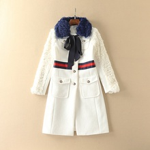 WOW! New arrival military style women fashion single breasted wool coat natural fur collar elegant coats outerwear pockets white