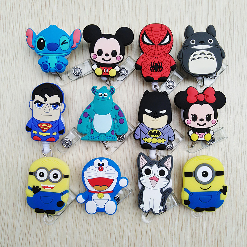 1 Pcs New Colorful Animal Cartoon Retractable Pull Badge Reel ID Name Tag Card Nurse Badge Holder 2019 Lovely Kids Reels