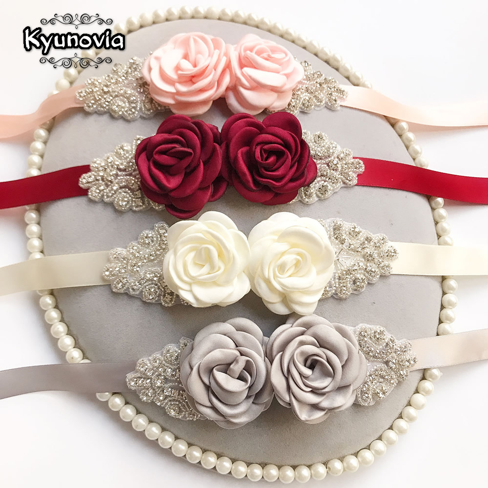 Kyunovia Pink White Flower Belts For Women Girl Flower Style Bridal Prom Dress Accessories Bridesmaid Sash Floral Belt D09
