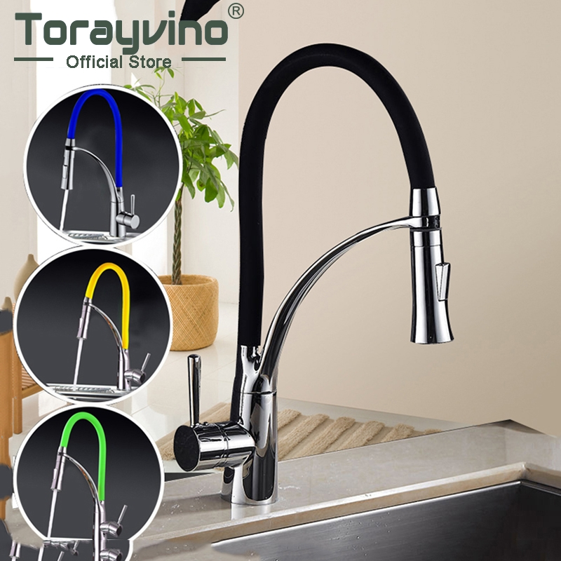 New Design Kitchen Faucet Pull Out Chrome Cast Four Color 360 Degree Rotating Cold And Hot