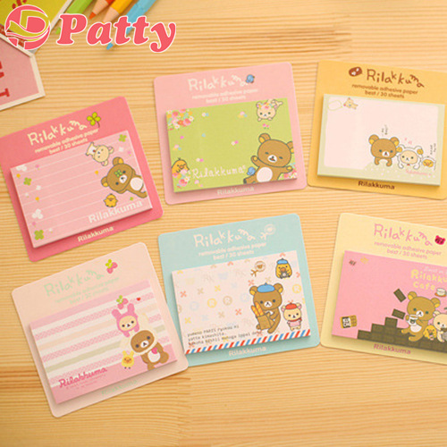 50 pcs/Lot Rilakkuma sticky notes Post Memo pad Removable adhesive paper stationery papelaria material School supplies F648