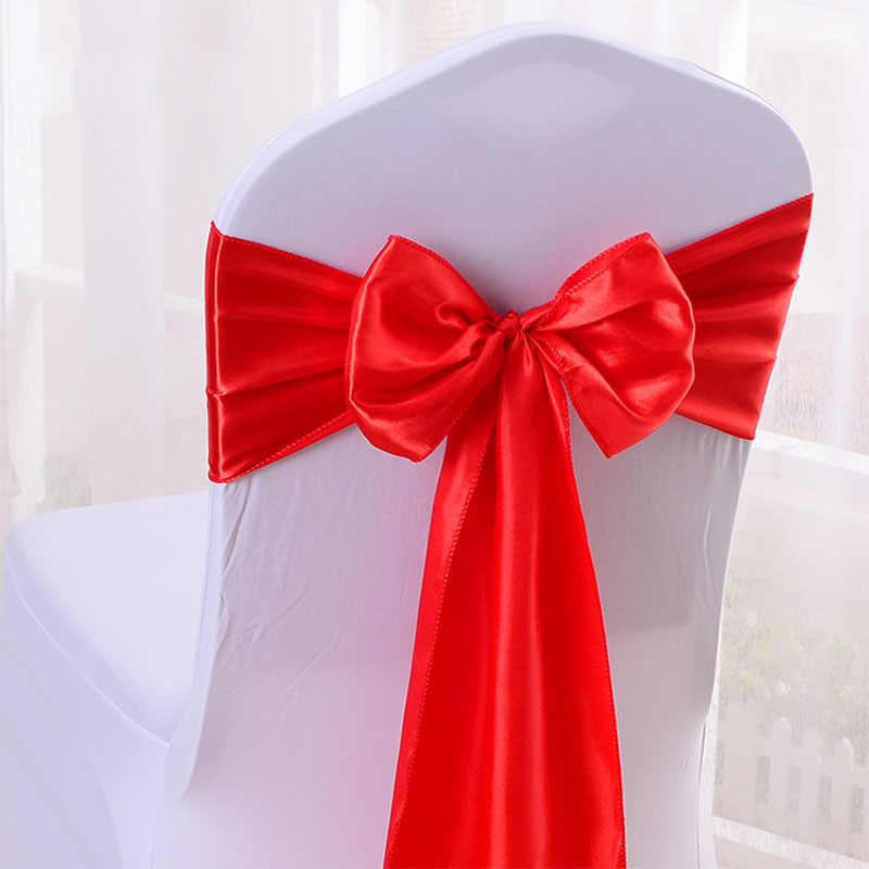 Дешевые 25 шт/партия 16*275 см атласная бабочка стул пояс лента для гостиницы банкета свадебные украшения красный/синий/желтый разноцветный