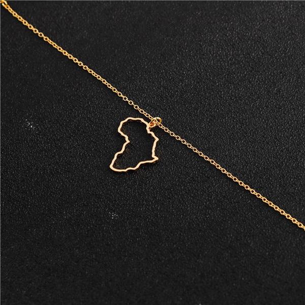 Полые африканские карты ожерелье Египет Южная Африка Кения Нигерия карта Африка кулон ожерелье ювелирные изделия родного города Лаки ожерелье на шею - Окраска металла: Gold