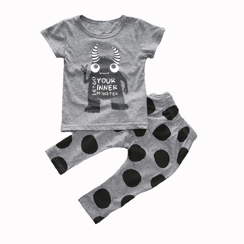 Kids Baby fashion baby boy girls clothes Cartoon Short sleeve T-shirt+pants 2pcs Toddle clothing outfit sets YOUR INNER MONSTER
