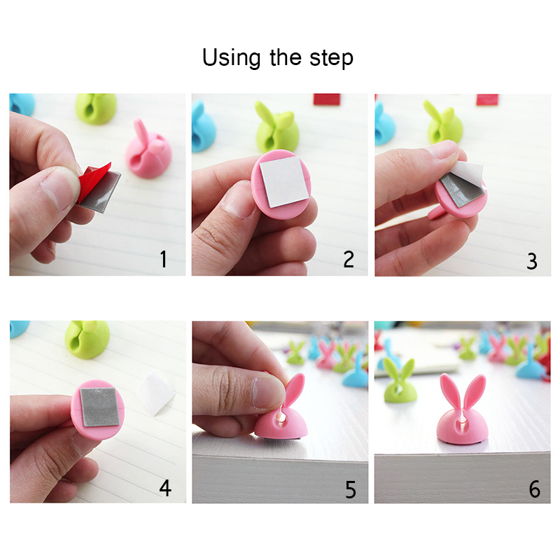 4 pcs rabbit ear silicone desktop winder cable organizer cable Home office