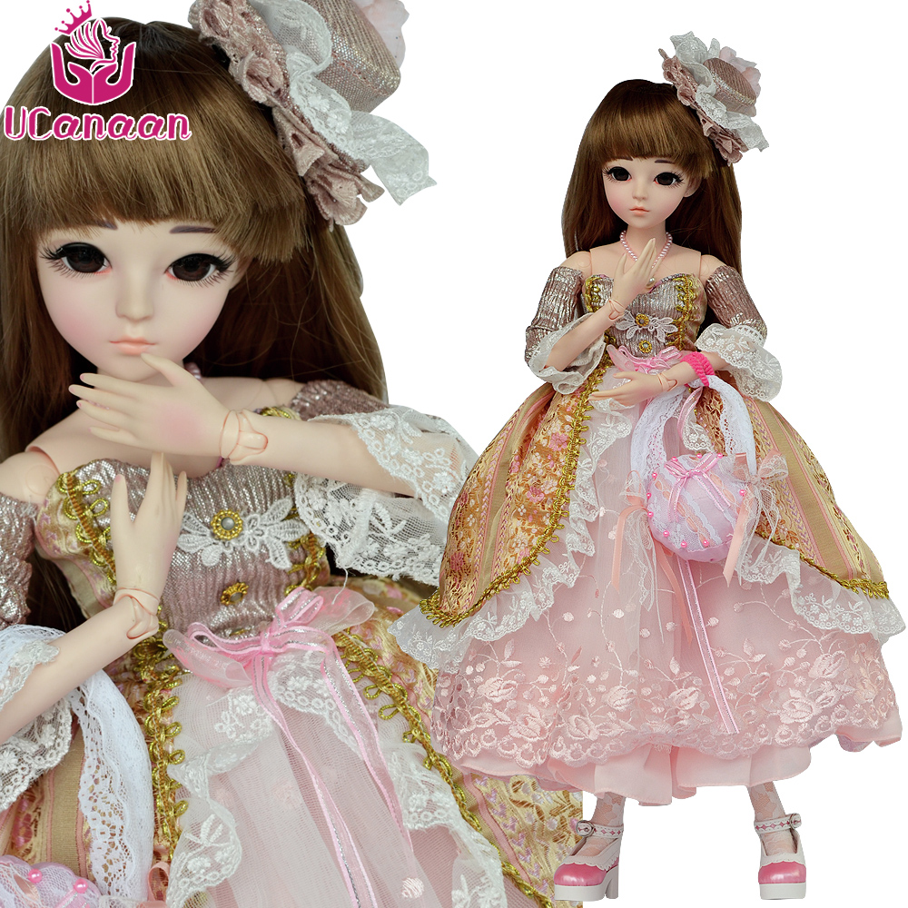 UCanaan 24'' 1/3 BJD Doll 18 Ball Jointed Dolls With Full Outfits Lolita Dress Wig Shoes Makeup SD Doll For Girls Collection 60cm bjd doll 24 1 3 sd dolls with beauty dress shoes wig makeup full outfits 18 ball jointed dolls for girls toys gift