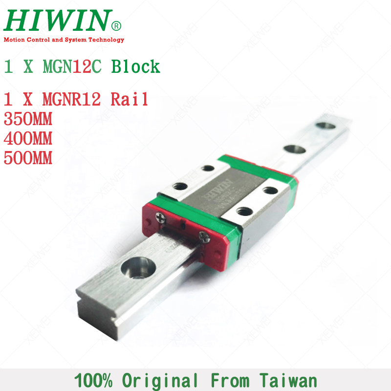 HIWIN MGN12C slide block carriages with 350mm 400mm 500mm MGN12 Linear Guide Rail for 12mm Miniature