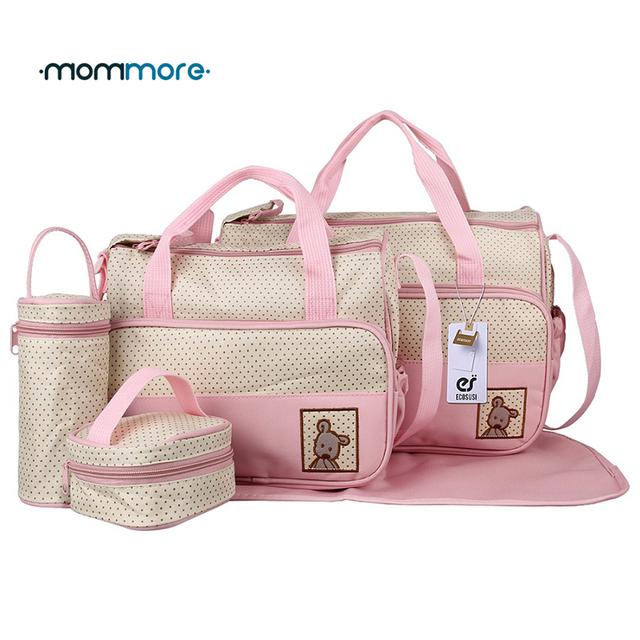 Mommore 5 unids De Pañales de Alta Calidad Bolsas de Asas de Bolsos de La Momia Bolsa de Pañales Con Cambiador Pad Madre Cochecito de Bebé A Prueba de agua bolsa