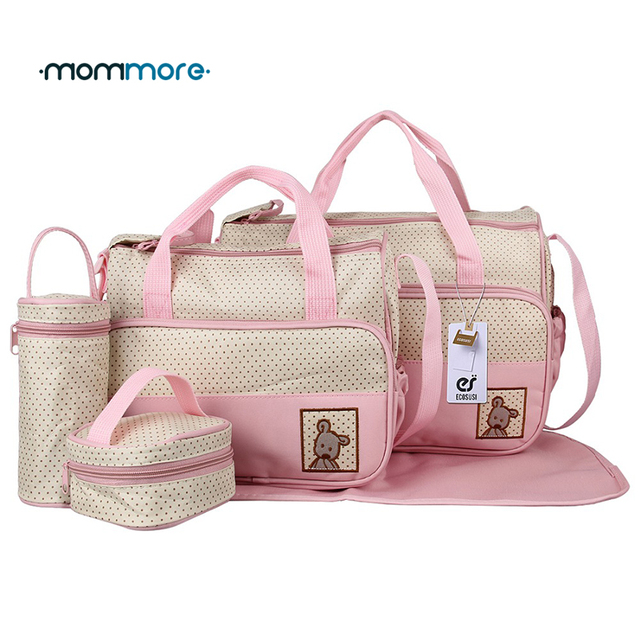 Mommore 5pcs High Quality Diaper Bag Ny With Changing Pad Mother Tote Bags Mummy Handbags
