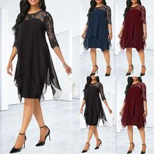 Eskulla Solid Women Chiffon Dress New Fashion Chiffon Overlay Three Quarter Sleeve Stitching Irregular Hem Lace Dress Plus Size