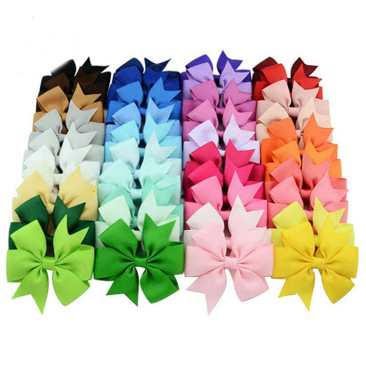 40-color Hot-selling Pure Ribbon hair clips Fishtail Bow 4.6 Cm Hairpin Nylon Ribbon Children's Hair Accessories