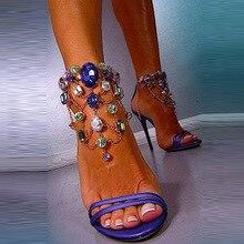 Bling Crystal Women Sandals High Heels Chain Strap Gladiator Women Sandals Stiletto Wedding Rhine Stone Dress Shoes Wedding цена 2017