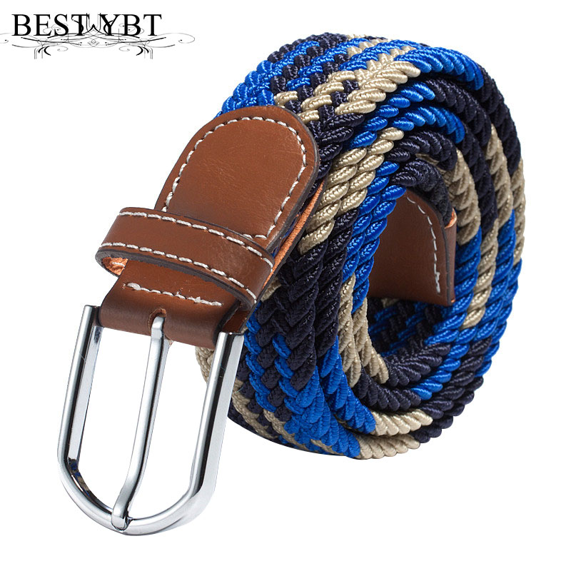 Best YBT Unisex Canvas Belt Elastic Solid Color Belt Knitted Woven PU Leather Pin Bucket Plain Webbing Belt Alloy Buckle