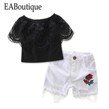 EABoutique 2017 New Summer Fresh Fashion girls clothes shoulderless Lace ruffle shirt with rose pattern hole jeans shorts set