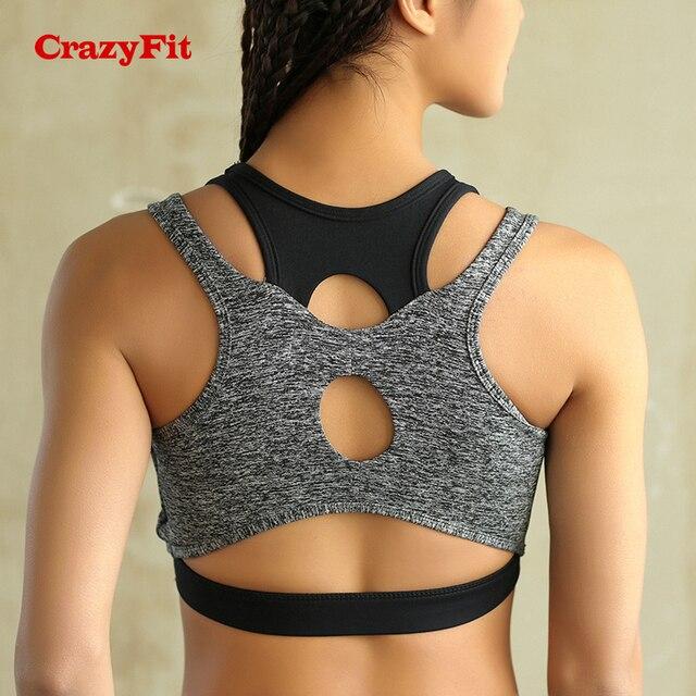 a719cea21 CrazyFit 2018 Push Up Womens Sports Top Bra Brassiere Sport Fitness Workout  High Impact Running Gym
