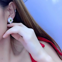 Local focal 925 silver Floral design stylish shiny stud earrings