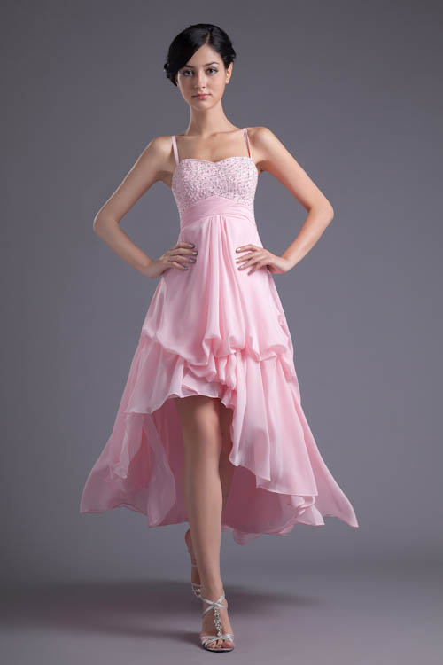 Babyonlinedress High Low Pink   Bridesmaid     Dresses   Sexy Backless Beaded Sequins Spaghetti Straps   Dress   for Wedding Party