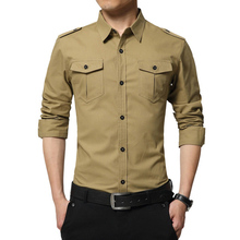 YJSFG HOUSE Brand Men Autumn Shirts Casual Long Sleeve Epaul