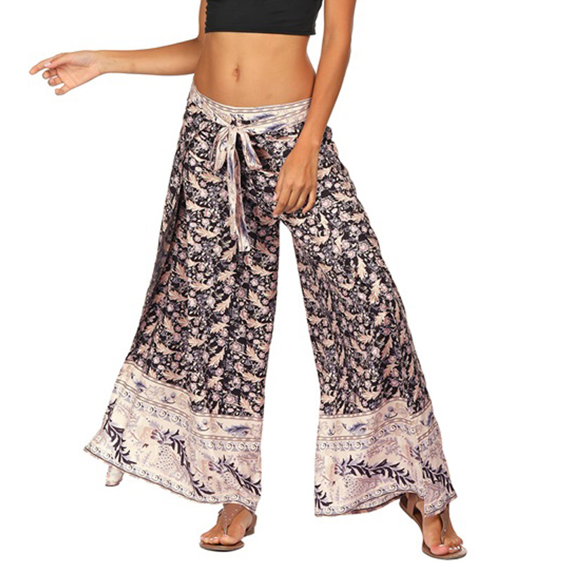 Wide     Leg     Pants   Ethnic Floral Bandage   Pants   Female Beach Casual Loose Trousers High Split Multiway Halter Jumpsuits Two Way Wear