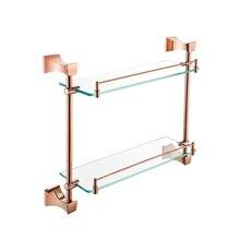 Медь розовое золото Аксессуары для ванной набор двойной уровень Ванная комната Стойки Стекло Полки Европейский Аксессуары для ванной комнаты ym098