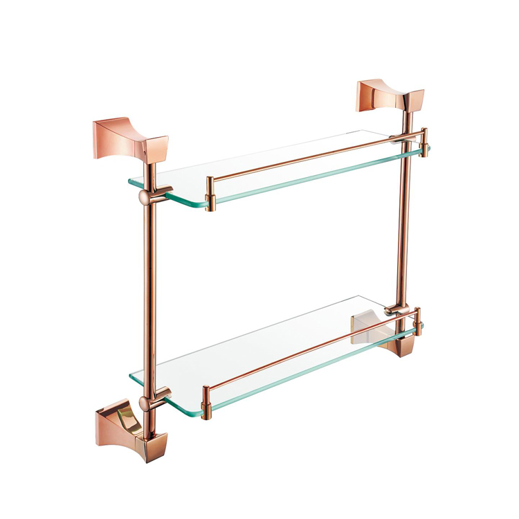 Copper Rose Gold Bathroom Hardware Suite Double Tier Bathroom Racks Glass Shelves European Bathroom Accessories YM098