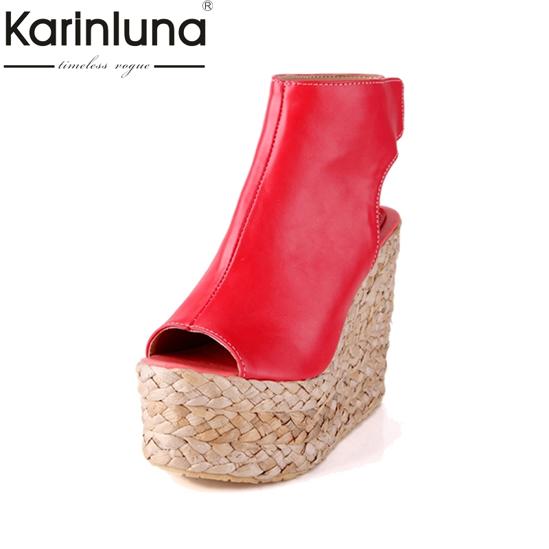 KARINLUNA 2017 Big Size 34-43 Wedges High Heels Thick Platform Summer Shoes Women Sexy Gladiator Peep Toe Party Sandals Woman