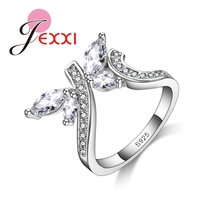 Jemmin Lovely Shinning Cubic Zirconia Beads Ring 925 Sterling Silver U Shape with Crystal Butterfly Rings Finger Jewelry
