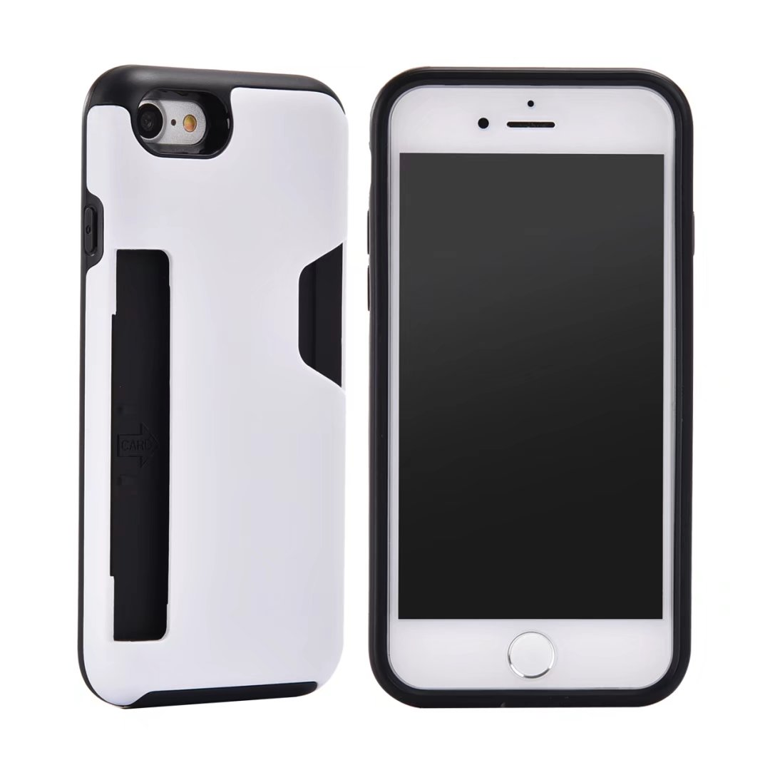 ID Credit Card Holder Back Cover for Apple iPhone 8 8plus Dual Layer Hybrid Armor Silicone TPU Phone Case For iPhone 7 7plus