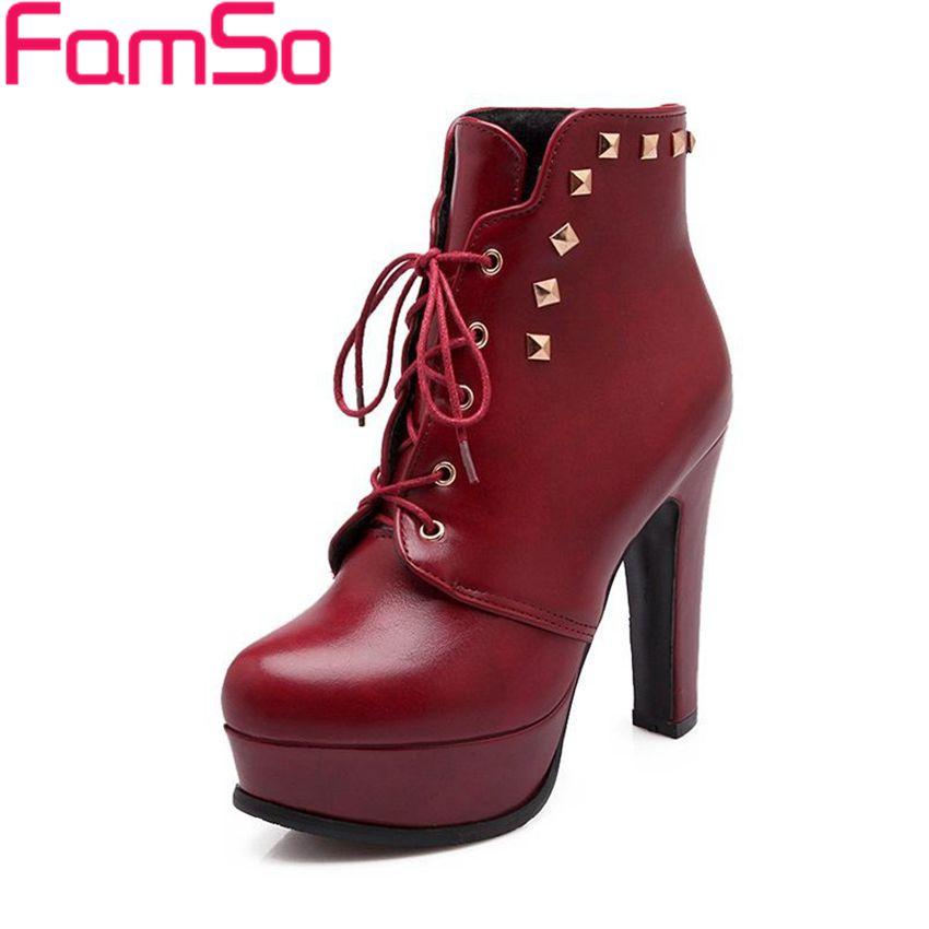 Plus Size34 43 2016 New Top fashion font b Women b font Boots Black Spring Rivets