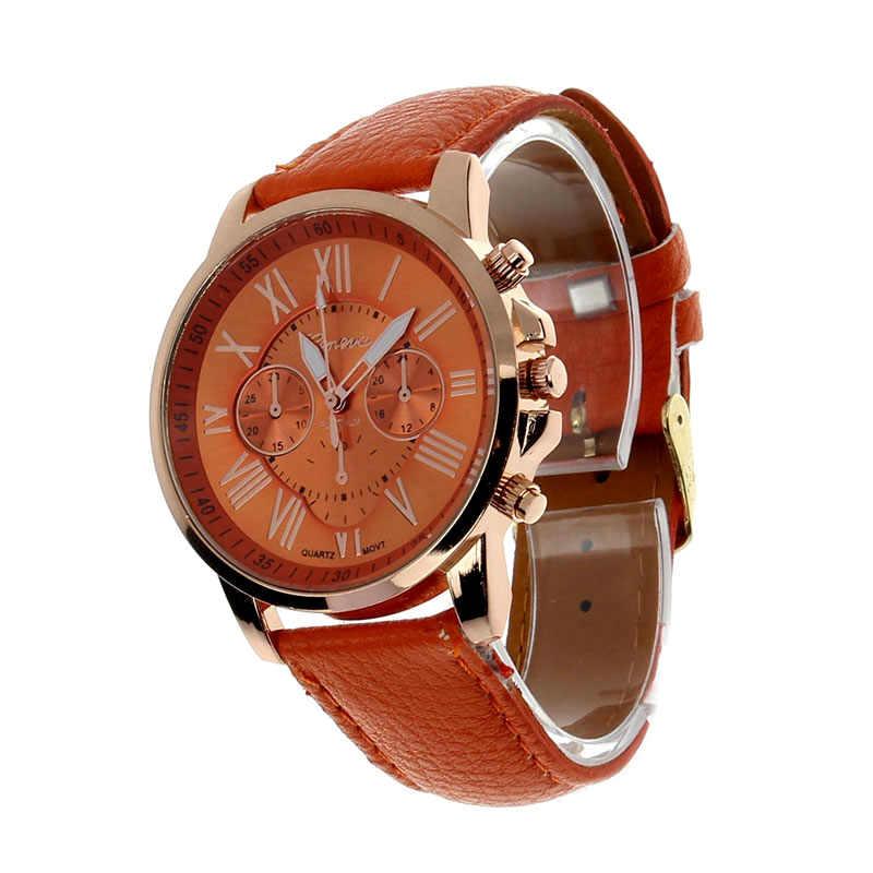 2018 Top marque genève marque montres décontracté chiffre romain montre pour femmes PU cuir Quartz montre-bracelet Relogio or horloge