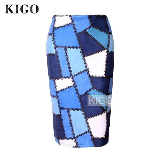KIGO 2016 Otoño Faux Suede Rodilla-Longitud Bodycon Midi Falda Faldas Para Mujer de La Vendimia Sexy Patchwork Imprimir Pencil Skirt KH2447H