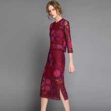 Women Autumn Spring Vintage Bohemian 2 Pieces Sets Long Sleeve Blouse+Slim Straight Skirt Hollow out Retro Embroidery Outfit